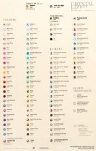 Tabla de colores SWAROVSKI ELEMENTS