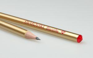 Lápices naturales con lacado dorado, cristal Swarovski y estampado de aluminio