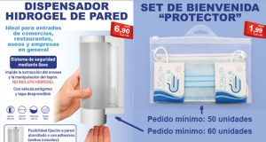 Dispensador hidrogel de pared y set de bienvenida