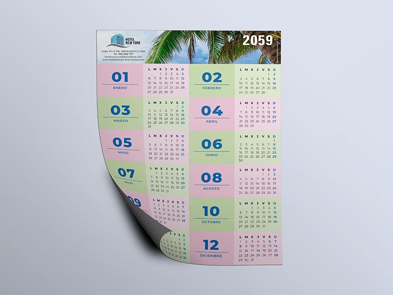 Calendario papel imantado