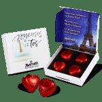 Caja con 4 bombones corazón