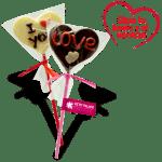 Piruleta de corazón de chocolate con mensaje XL