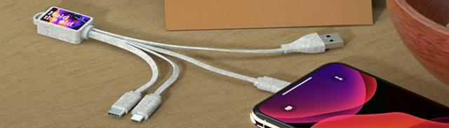Grain - multicable USB 4 en 1 de fibra de trigo y bambú
