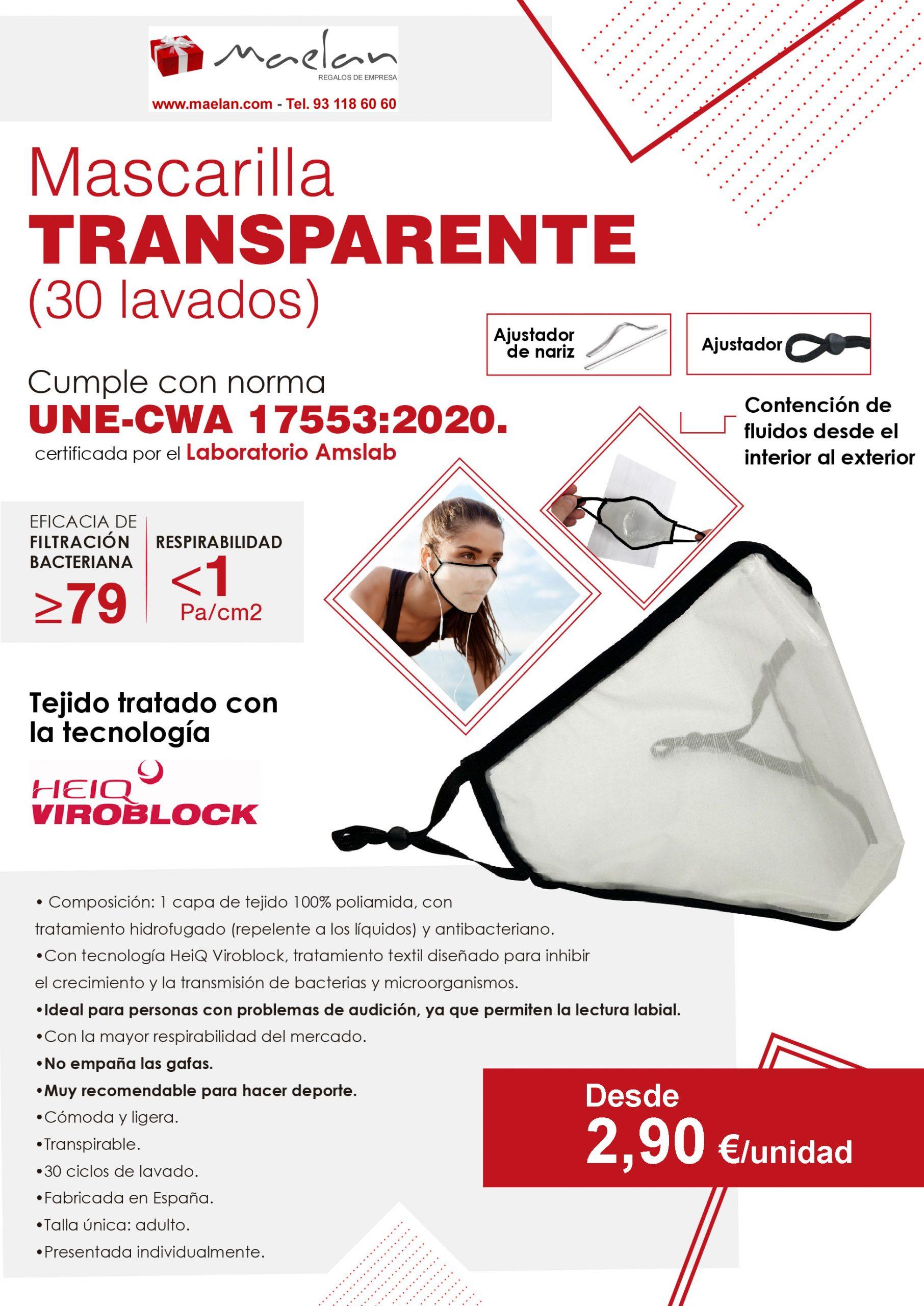 Oferta comercial mascarilla transparente